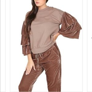 Other - Mocha velvet pants suit. Two pieces.